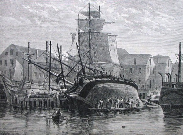 An_Old_Whaler_Hove_Down_For_Repairs,_Near_New_Bedford