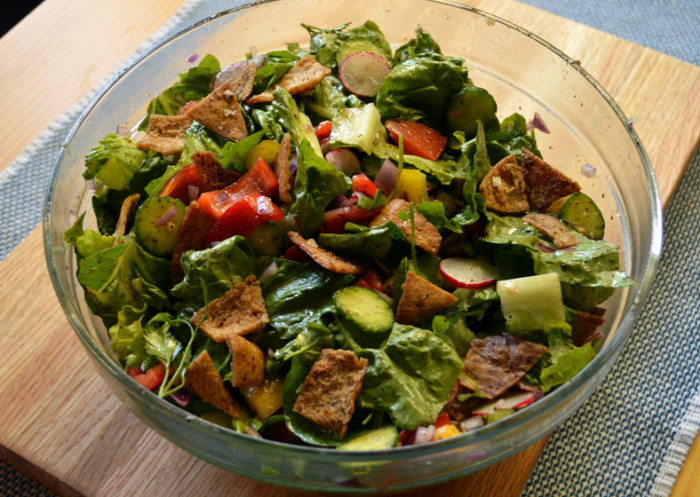 """Fattoush mixed-salad"" by Arousing Appetites - http://arousingappetites.com/wp-content/uploads/2014/11/fattoush_mixed-salad.jpg. Licensed under CC BY-SA 3.0 via Wikipedia - https://en.wikipedia.org/wiki/File:Fattoush_mixed-salad.jpg#/media/File:Fattoush_mixed-salad.jpg"