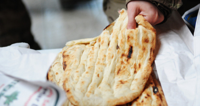 """Turkish pita bread"" by U.S. Air Force photo by Senior Airman Marissa Tucker - http://www.incirlik.af.mil/shared/media/photodb/photos/120512-F-GF478-143.JPG. Licensed under Public Domain via Wikimedia Commons - http://commons.wikimedia.org/wiki/File:Turkish_pita_bread.JPG#/media/File:Turkish_pita_bread.JPG"