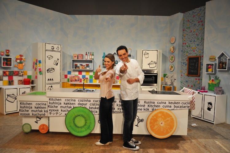 Carolina Rey e Alessandro Circiello sul set di Ricette a colori