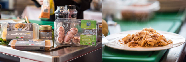 I prodotti Berti e le tagliatelle con il ragù di coniglio preparate sul podio di Bellavista da Nicoletta Tavella