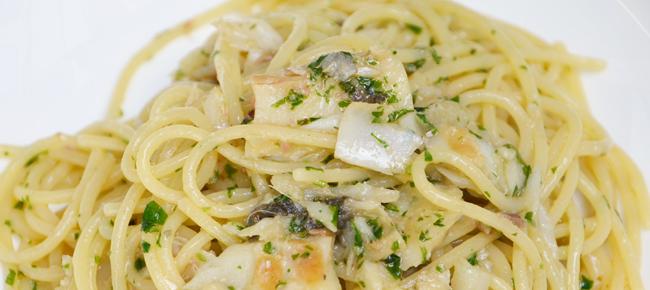 Spaghetti al bacalà alla vicentina della Trattoria Da Cirillo