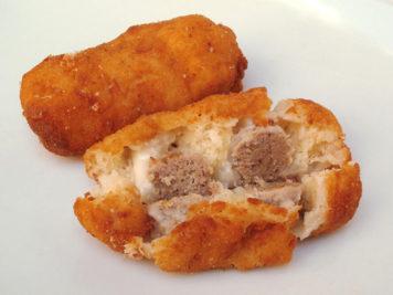 Spiedino, polpettina di carne e pane fritta