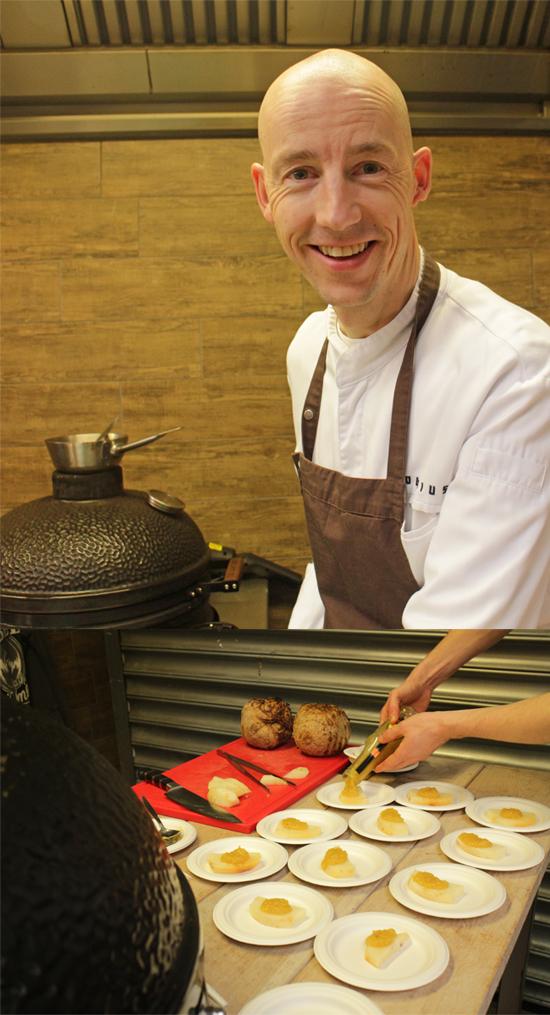 Luc Kusters del ristorante Bolenius (*) con sedano rapa e salsa di cipolle