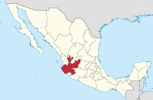 La regione dello Jalisco, in Messico, dove si trova la città di Santiago de Tequila